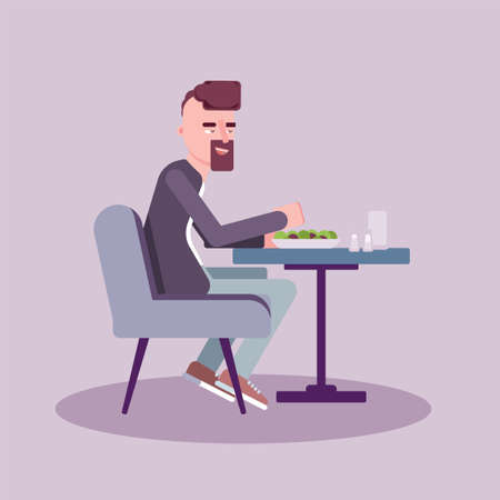 Man have lunch in cafe flat vector illustration. Handsome guy with beard eating salad. Gentleman sitting at table cartoon character. Caucasian at bistro, cafeteria, restaurant. Isolated design element Stock Illustratie