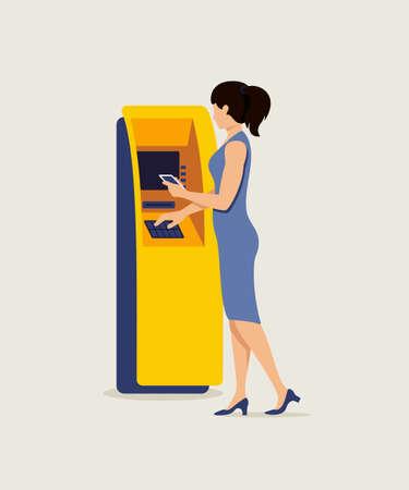 Donna che utilizza ATM e smartphone illustrazione vettoriale. Signora digitando PIN al bancomat clipart piatto. Personaggio dei cartoni animati che preleva denaro dalla carta di debito. Elemento di design isolato transazione finanziaria Vettoriali