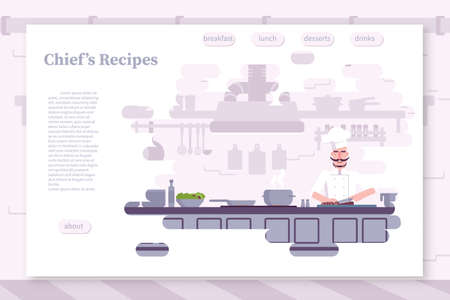 Restaurant flat color landing page vector template. Culinary workshop, school website, webpage. Chef cooking food cartoon character. Cafe, catering service web banner concept with lettering Illustration
