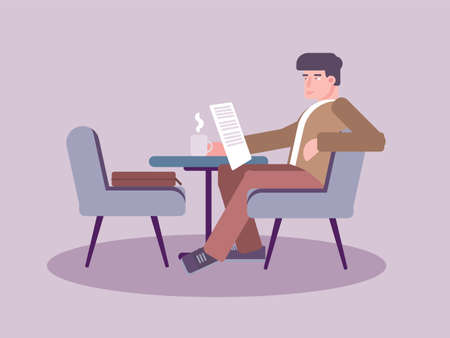 Man reading newspaper in cafe vector illustration. Coffee break. Gentleman sitting in chair reading newspaper cartoon character. Meal with gazette and hot drink. Catering isolated design element