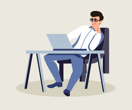 Boss in private office flat vector illustration. Relaxed confident employer at workplace. Middle aged man in glasses working on laptop. Programmer, project manager.Cartoon character sitting at desk Vectores
