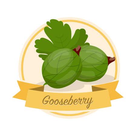 Ripe gooseberries with name vector illustration. Organic jam tag. Eco juice circle sticker. Vector Illustratie