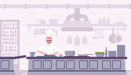 Restaurant kitchen interior vector illustration. Chef cooking delicious food cartoon character. Culinary workshop flat color drawing. Professional chef cook dinner. Cafe, catering service banner Çizim