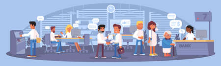 Bank interior panorama flat color illustration. Business routine. Queue at reception, man using cashpoint, financial advisor helping visitor, manager hiring young guy. Vector Banking service banner