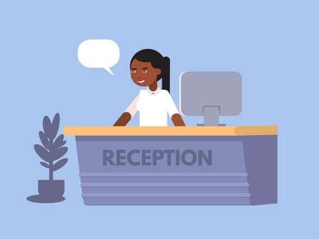 Bank receptionist woman flat color illustration. African american financial advisor girl cartoon character. Bank employee vector drawing with text cloud. Bank service banner, poster template Çizim
