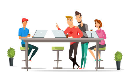 Office workers flat vector characters. Businessmen and businesswomen cartoon illustration. Colleagues, coworkers, partners. Open space office. Teamwork. Coworking zone. Workplace, workspace interior