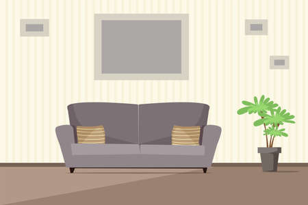 Living room modern interior vector illustration. Grey cozy sofa with cushions flat drawing. House plant in pot. Simple, minimalistic style. Pictures in frames hanging on wall. Beige striped wallpapers Иллюстрация