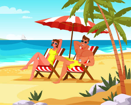 Couple relaxing on summer vacation flat vector illustration. Boyfriend and girlfriend under beach umbrella on deck chairs. Honeymoon. Woman and man at island paradise resort cartoon color characters Illustration