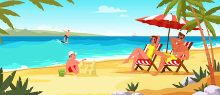 Family summer vacation flat vector illustration. Parents under beach umbrella on deck chairs. Kid play with sand castle. Surfer riding on waves. Couple at island paradise resort cartoon characters Illustration