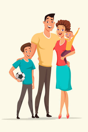 Happy family vector illustration. Woman holding baby flat drawing. Teenager with football ball design element. Mother, father and sons posing together. Parents with children cartoon characters