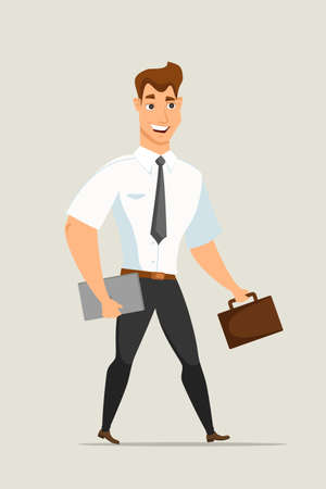Businessman with briefcase vector illustration. Smiling office worker with laptop. Cartoon character in formal clothes. Man hurrying up at work flat clipart. Isolated design element