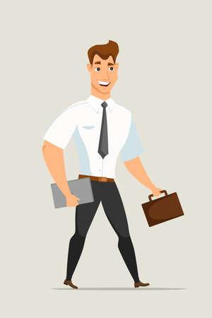 Homme d'affaires avec illustration vectorielle porte-documents. Employé de bureau souriant avec ordinateur portable. Personnage de dessin animé en vêtements formels. Homme se dépêchant au travail clipart plat. Élément de design isolé