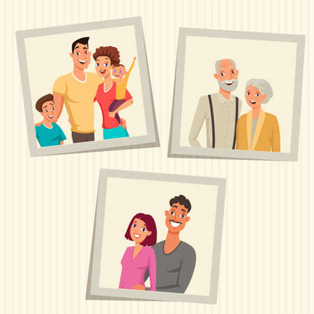 Family photos in frames color vector illustration. Picture of happy couple together. Grandmother and grandfather portrait. Smiling mother and father with children flat drawing. Cartoon characters