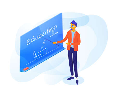 Teacher pointing on blackboard vector illustration. Modern professor in glasses isolated clipart. Education word on chalkboard. Maths lesson flat drawing. Cartoon character in classroom