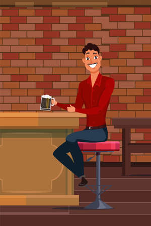 Young man drinking beer in pub vector illustration. Cheerful guy sitting at bar counter. Happy cartoon character holding glass of alcoholic beverage. Handsome caucasian man with pint beer glass