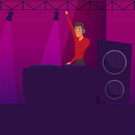 Party, disco flat color illustration. Nightclub young DJ cartoon character. Night club interior. Lighting, music equipment. DJ mixer, turntable, headphones, stereo system. Holiday poster backdrop