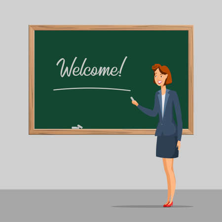 School lesson flat vector color illustration. Female teacher talking near blackboard cartoon character. Classroom chalkboard with welcome word. First day at school. Elementary education Иллюстрация