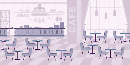 Restaurant interior design flat vector illustration. Cafe, cafeteria, bistro, canteen empty hall. Tables, chairs, lamps, bar cartoon composition. Catering service violet color monochrome drawing