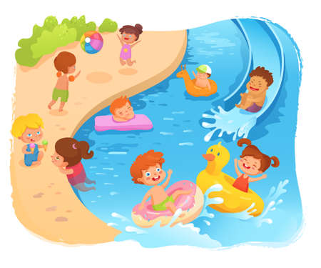 Kids on beach cartoon vector color illustration