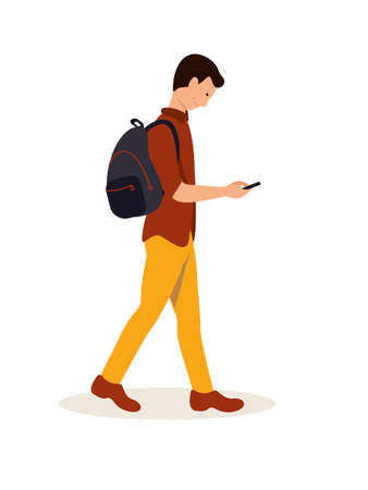 Student going to college flat vector illustration