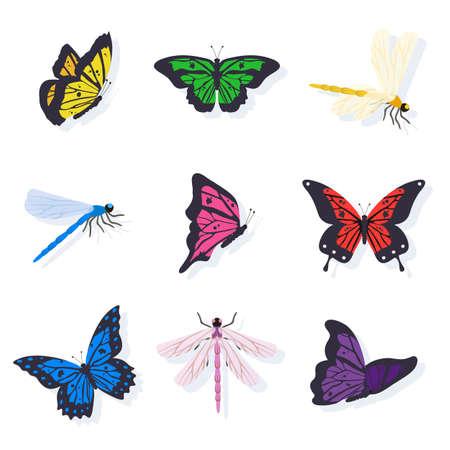Dragonflies and butterflies illustrations set Foto de archivo - 130530077
