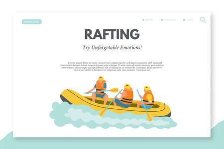 Rafting flat landing page template with text space