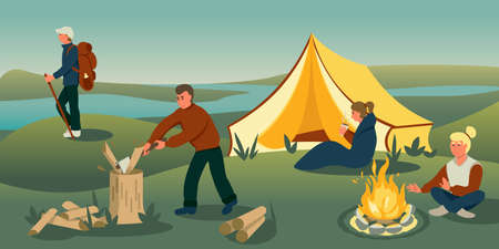 Family camping holiday flat vector illustration