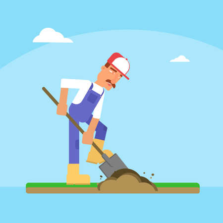 Gardener digging ground flat vector illustration