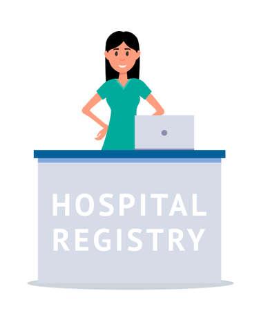 Hospital reception cartoon vector illustration Vectores