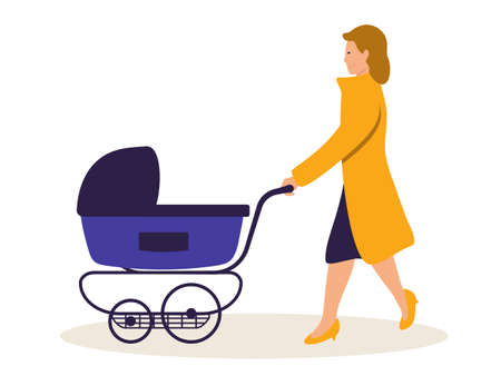 Mother with baby carriage vector illustration