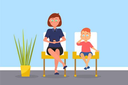 Mother and son in waiting room vector illustration