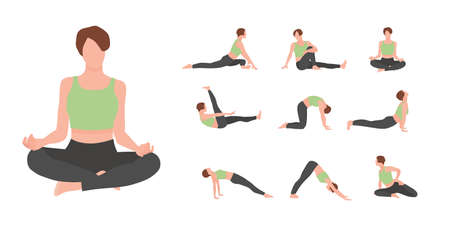 Female yoga master vector characters set isolated on white background