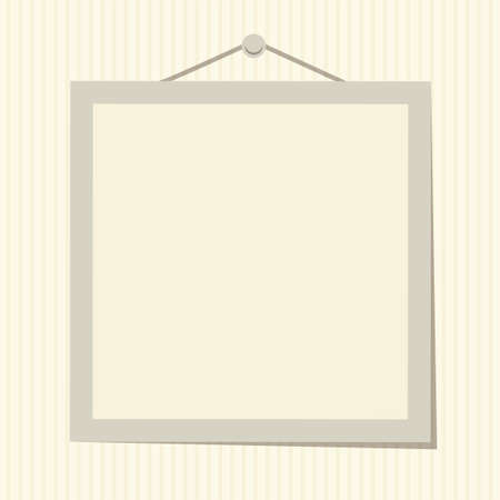 Empty photo frame flat vector illustration isolated on beige