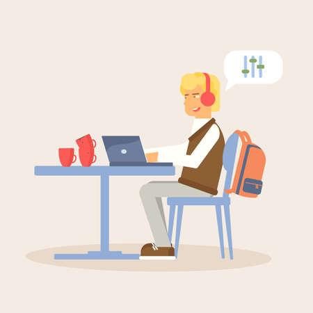 Distance work flat vector illustration isolated on beige background Ilustrace