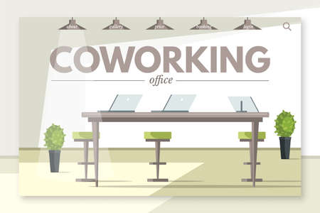 Coworking office flat landing page vector template