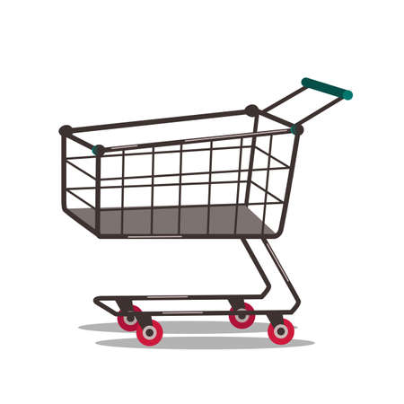 Shopping cart flat vector illustration isolated on white background
