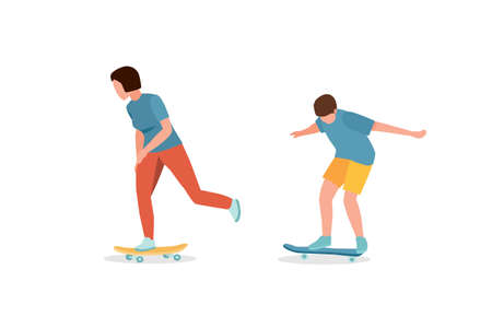 Teenagers on skateboards vector illustration isolated on white background