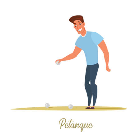 Male petanque player cartoon character isolated on white background