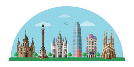 Barcelona sightseeing tour flat vector banner isolated on white background Çizim