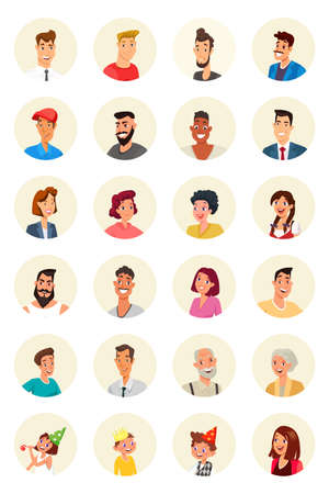 Smiling people vector characters set isolated on white background Banco de Imagens - 130530133