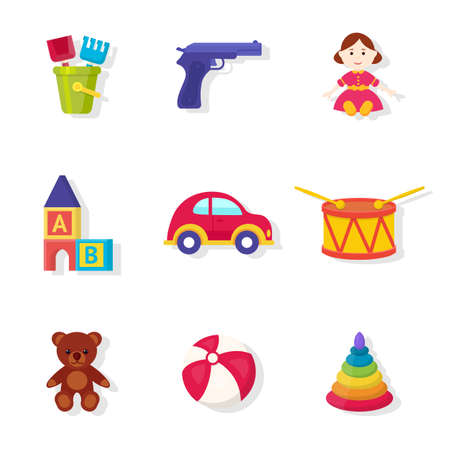 Toys shop assortment vector illustrations set Stock Illustratie