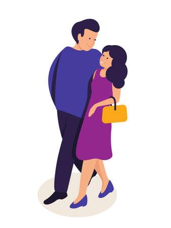 Couple in love hugging flat vector illustration