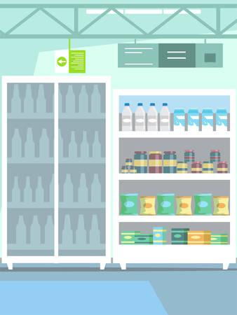 Goods on shelf in supermarket vector illustration Illustration