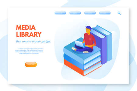 Media library cartoon vector landing page template