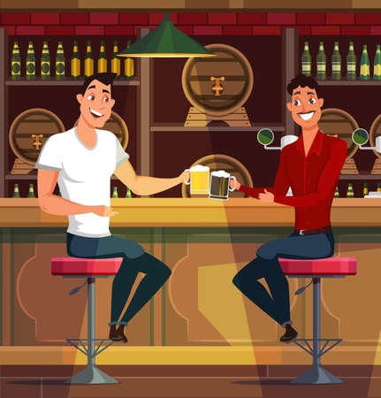 Young men drinking beer in pub vector illustration