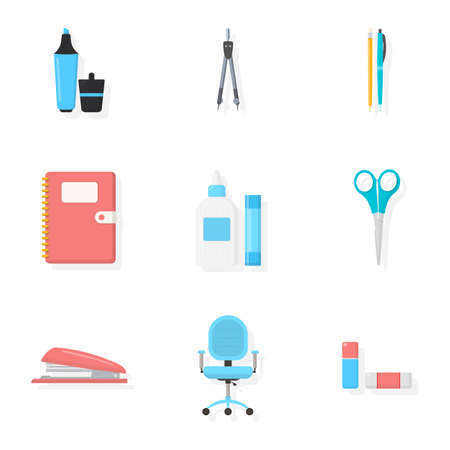 Stationery store assortment illustrations set Stock Illustratie