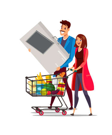 Woman and man with cart in supermarket vector illustration Vecteurs
