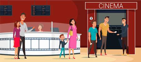 Leute, die zur Kinokarikatur-Vektorillustration gehen