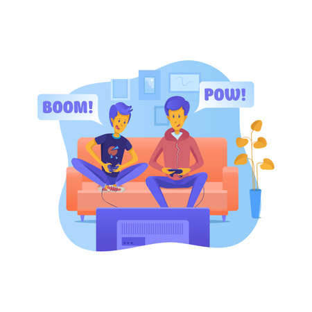 Father with son playing video games illustration