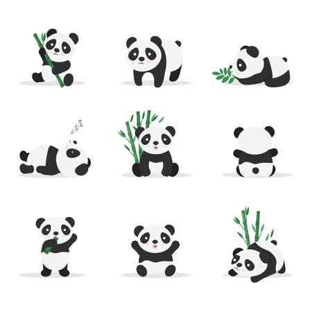 Nette Pandas flache Vektorfarbillustrationen eingestellt